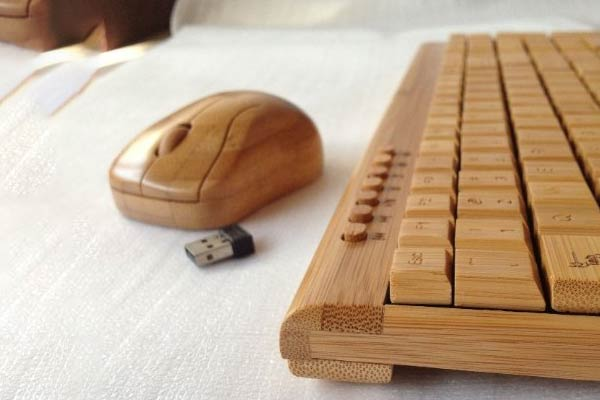 Bamboo Keyboard and Mouse side view