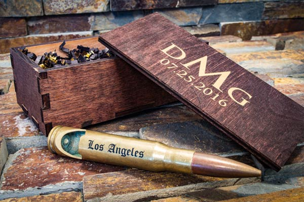 brass engraved bullet bottle opener