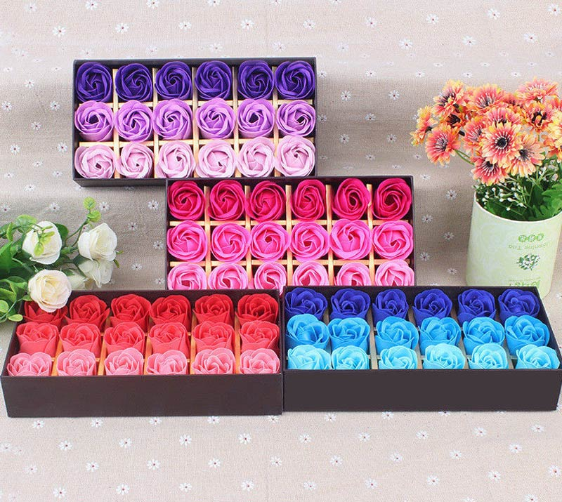 18 piece rose flower scented bath soaps