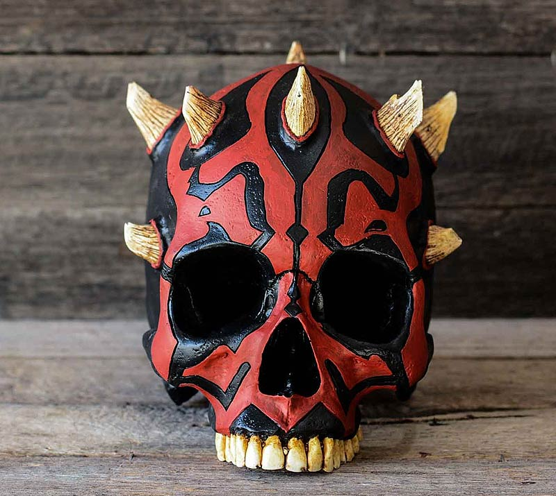 darth maul skull with black red paint