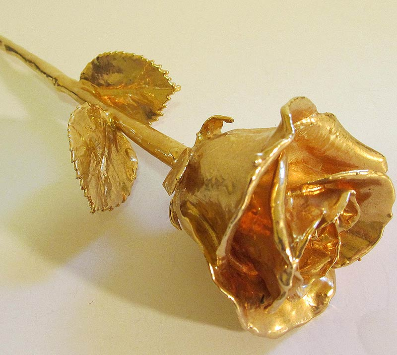rose plated in pure 24k gold