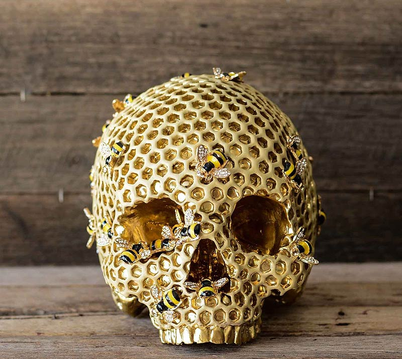 golden beehive skull with bees