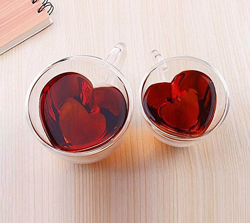 Clear heart shaped cups