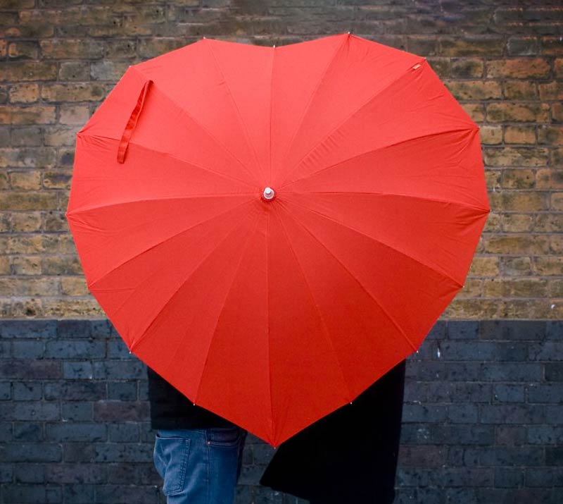 Red heart umbrella