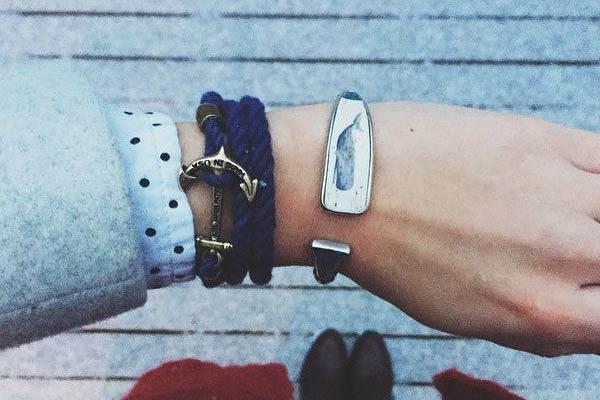 blue lanyard hitch cord bracelet on wrist