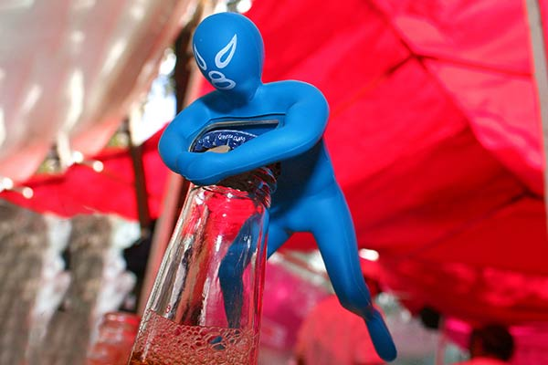 Blue Luchador Bottle Opener Headlock