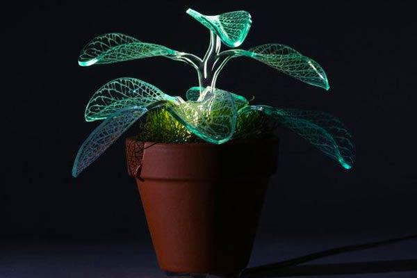 single green acrylic plant lamp