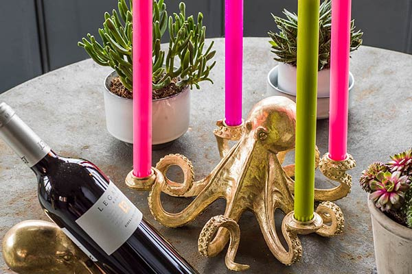 Gold Octopus Candle Holder