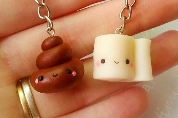 Poop and toilet paper Keyrings
